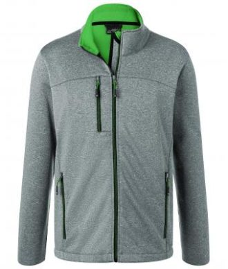 Mens Melange Softshell Jacket James & Nicholson - dark melange green