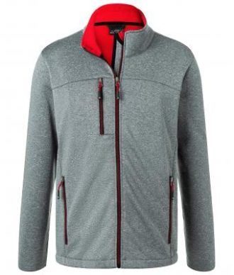 Mens Melange Softshell Jacket James & Nicholson - dark melange red