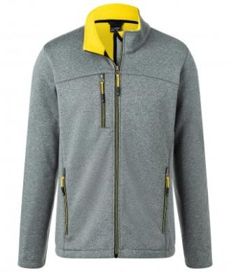 Mens Melange Softshell Jacket James & Nicholson - dark melange yellow