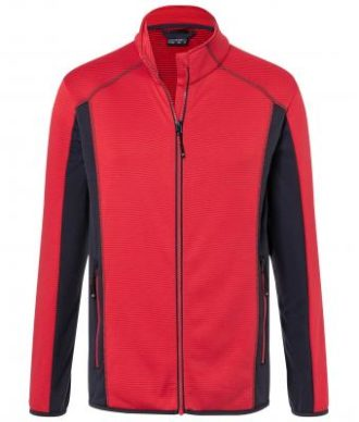 Mens Structure Fleece Jacket James & Nicholson - red carbon