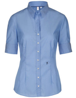 Seidensticker Bluse Womens Blouse Slim Fit Shortsleeve - midblue