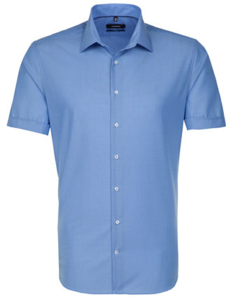 Seidensticker Hemd Mens Shirt Tailored Fit Shortsleeve - midblue
