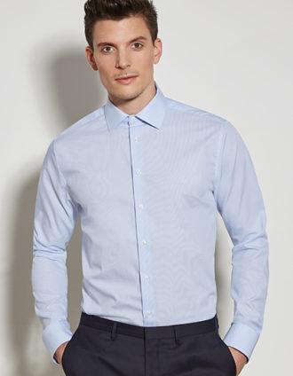 Seidensticker Mens Shirt Tailored Fit Check-Stripes Longsleeve - check light blue white