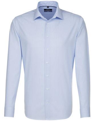 Seidensticker Mens Shirt Tailored Fit Check-Stripes Longsleeve - striped light blue white