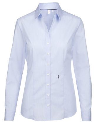Seidensticker Womens Blouse Slim Fit Check & Stripes Longsleeve - check light blue white