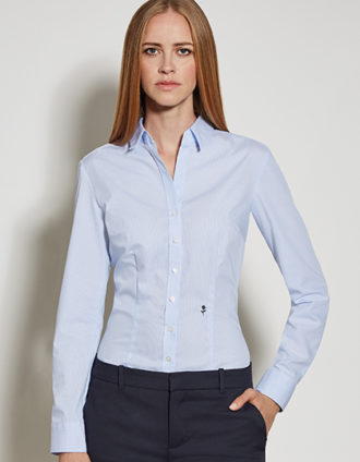 Seidensticker Womens Blouse Slim Fit Check & Stripes Longsleeve - striped light blue white