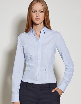 Seidensticker Womens Blouse Slim Fit Check & Stripes Longsleeve - striped light blue white