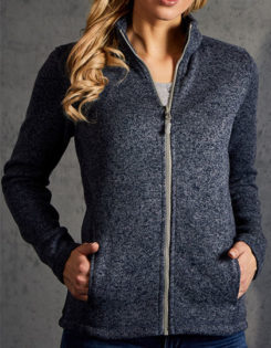 Womens Knit Fleece Jacket C+ Promodoro - heather blue
