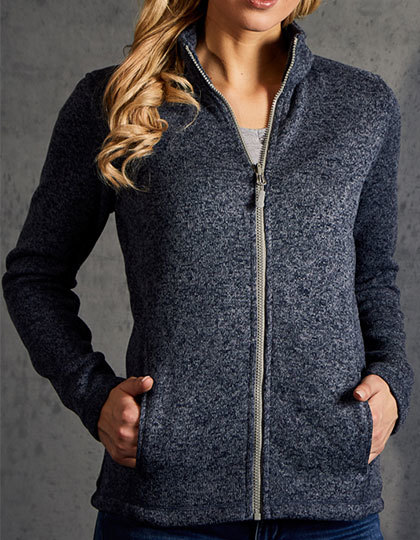 Womens Knit Fleece Jacket C+ Promodoro - heather blue