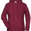 Ladies' Bio Hoody James & Nicholson - burgundy melange
