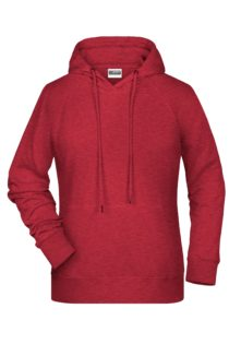 Ladies Bio Hoody - carmine red melange