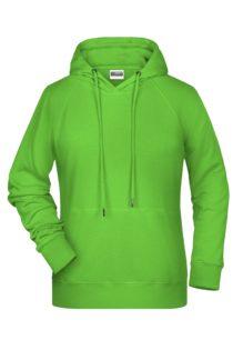 Ladies' Bio Hoody James & Nicholson - lime green