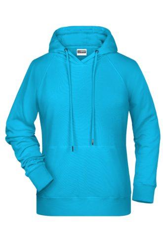 Ladies' Bio Hoody James & Nicholson - turquoise