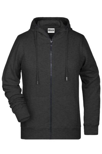 Ladies' Bio Zip Hoody James & Nicholson - black heather