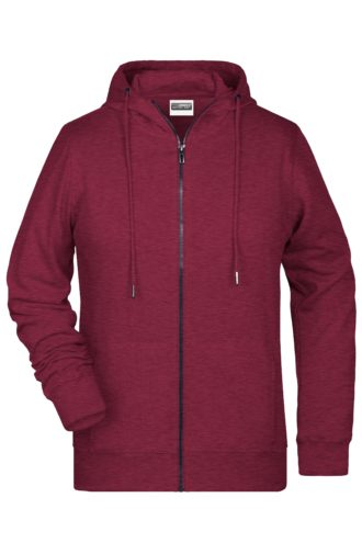 Ladies' Bio Zip Hoody James & Nicholson - burgundy melange