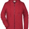 Ladies' Bio Zip Hoody James & Nicholson - carmine red melange