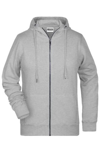 Ladies' Bio Zip Hoody James & Nicholson - grey heather