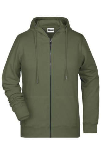 Ladies' Bio Zip Hoody James & Nicholson - olive