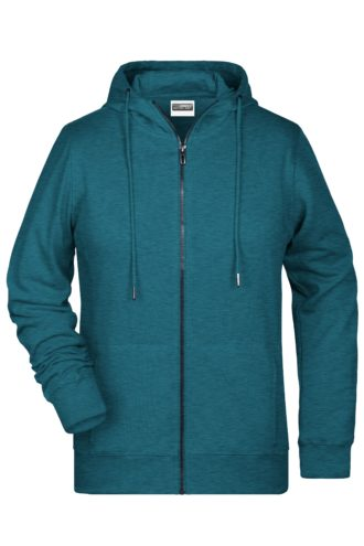 Ladies' Bio Zip Hoody James & Nicholson - petrol melange
