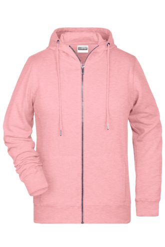 Ladies' Bio Zip Hoody James & Nicholson - rose melange