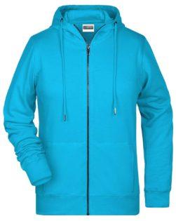 Ladies Bio Zip Hoody James & Nicholson - turquoise