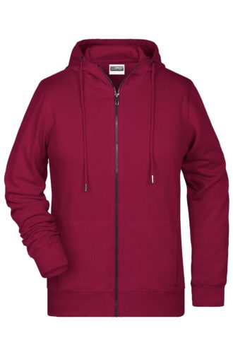 Ladies' Bio Zip Hoody James & Nicholson - wine