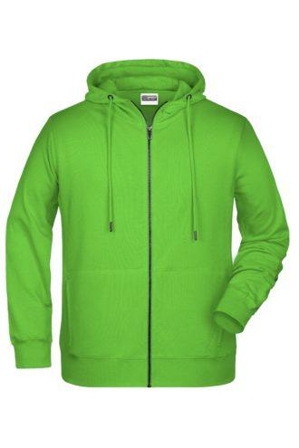 Men's Bio Zip Hoody James & Nicholson - lime green