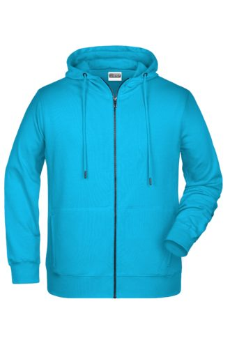 Men's Bio Zip Hoody James & Nicholson - turquoise