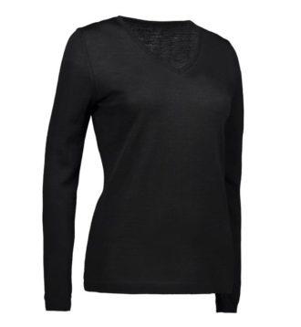Identity V-Neck Damen Pullover - schwarz