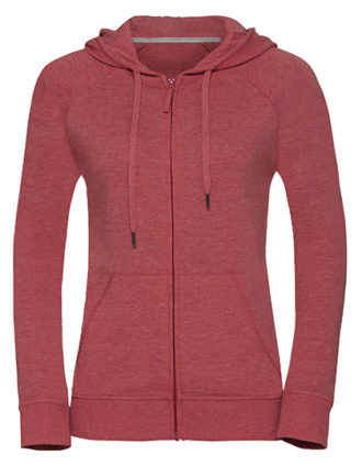 Ladies' HD Zipped Hood Sweat Russell - red