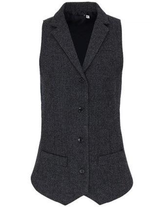 Ladeis Herringbone Waistcoat Premier - charcoal