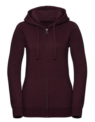 Ladies' Authentic Melange Zipped Hood Sweat Russell - burgundy melange