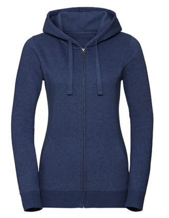 Ladies' Authentic Melange Zipped Hood Sweat Russell - ocean melange