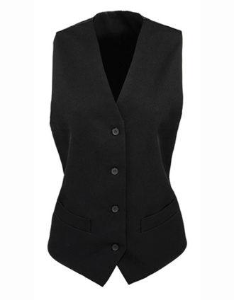 Ladies' Lined Polyester Waistcoat Premier - black
