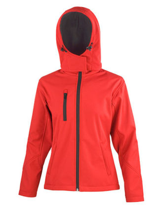 Ladies' TX Performance Hooded Softshell Jacket Result - red black