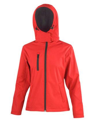 Ladies' TX Performance Hooded Softshell Jacket Result - red black