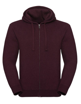 Men's Authentic Melange Zipped Hood Sweat Russell - burgundy melange