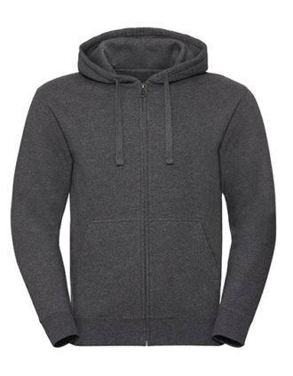 Men's Authentic Melange Zipped Hood Sweat Russell - carbon melange
