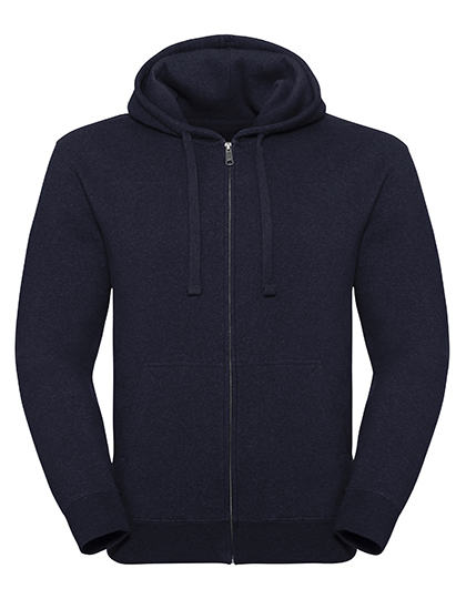Men's Authentic Melange Zipped Hood Sweat Russell - indigo melange