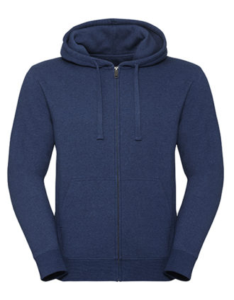 Men's Authentic Melange Zipped Hood Sweat Russell - ocean melange
