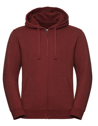 Men's Authentic Melange Zipped Hood Sweat Russell - red melange