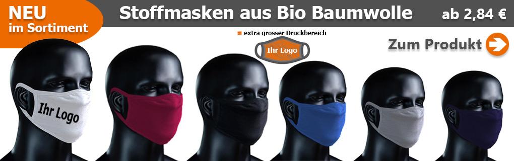 BIO Stoffmasken mit eigenem Logo bedrucken